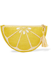 Limon embellished woven straw clutch