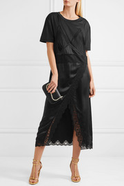Lace-trimmed silk-satin and cotton-jersey midi dress