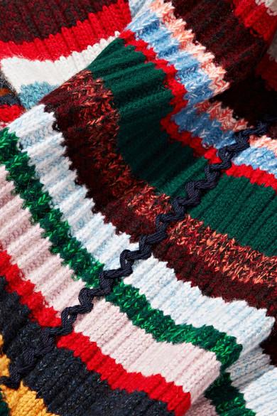 Burberry Striped Ribbed Knit Scarf Net A Porter Com