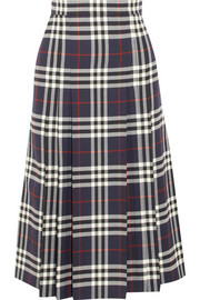 Pleated checked wool midi skirt
