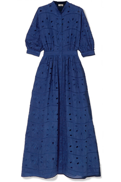 Paul & Joe BRODERIE ANGLAISE COTTON AND SILK-BLEND MAXI DRESS