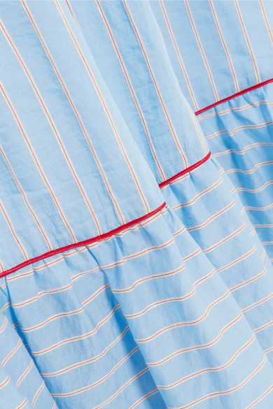 Paul & Joe Midikleid aus gestreifter Popeline aus einer Baumwollmischung mit Schleifendetails
