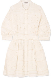 Broderie anglaise cotton and silk-blend mini dress