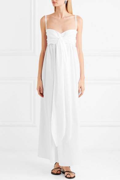 Three Graces London Adele Maxi Dress In Cotton Voile With Tie-detail