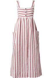Elinor striped linen and cotton-blend maxi dress