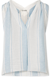 Isoleta striped linen-blend top