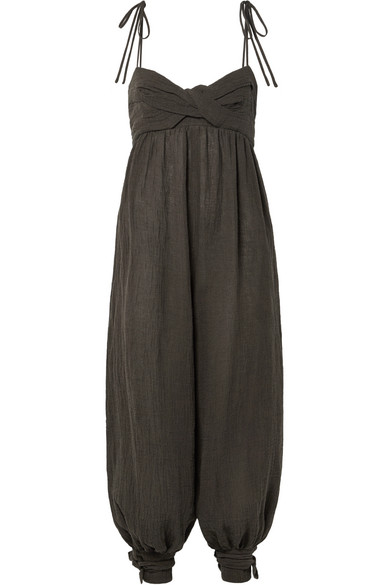 Three Graces London Reed tie-embellished crinkled linen-blend jumpsuit