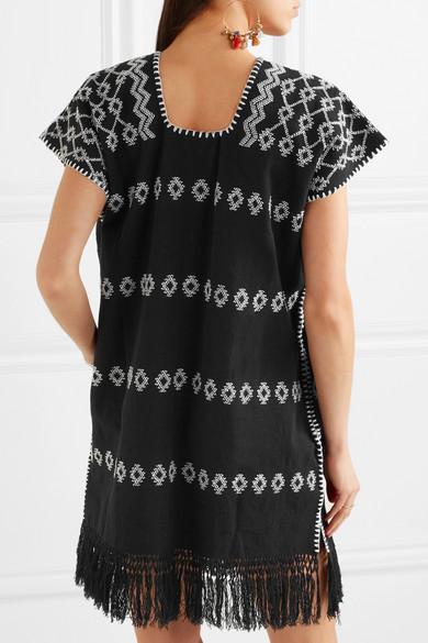 Pippa Holt Supermini Kaftan aus Baumwolle mit Stickerei und Fransen