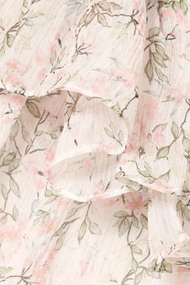 Paul & Joe Tourbillon Bluse aus Seidenkrepon mit Rüschen und Blumenprint
