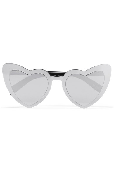 Saint Laurent - New Wave 196 Loulou Heart-shaped Silver-tone Sunglasses
