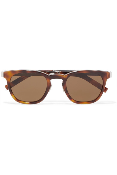 ea6c540a4e7 Saint Laurent. Round-frame tortoiseshell acetate and silver-tone sunglasses