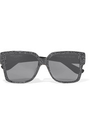 Oversized square-frame glittered acetate sunglasses