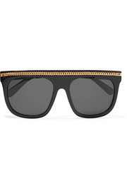 Stella McCartney Chain-trimmed D-frame acetate sunglasses