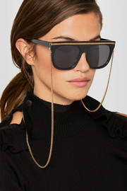 Chain-trimmed D-frame acetate sunglasses