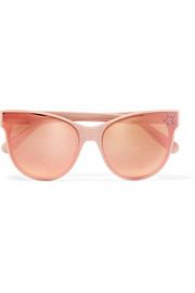 Crystal-embellished cat-eye acetate mirrored sunglasses