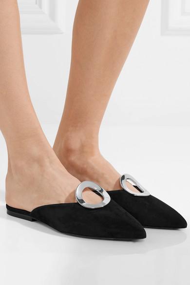 Proenza Schouler Slippers aus Veloursleder mit Ösenverzierung