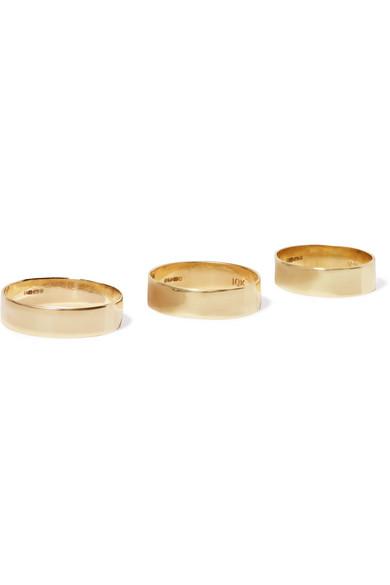 Loren Stewart Set of three 10karat gold rings NETAPORTERCOM