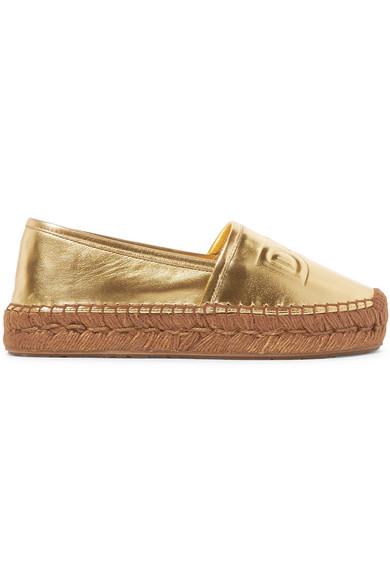 Dolce aus & Gabbana | Espadrilles aus Dolce Metallic-Leder mit Logoprägung 6f163f