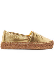 Logo-embossed metallic leather espadrilles