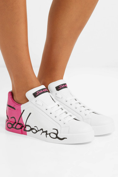 Classic Zum Verkauf Niedriger Preis Zu Verkaufen Dolce & Gabbana Sneakers aus Leder mit Logobemalung Günstiges Shop-Angebot Aus Deutschland Zum Verkauf Cp1DVHq8fl