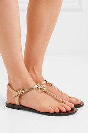 Logo-embellished metallic textured-leather sandals