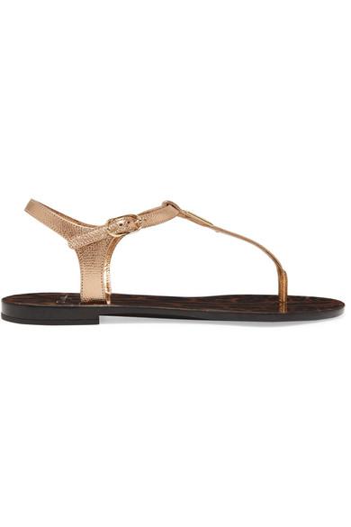 Billig Erkunden Billig Großer Verkauf Dolce & Gabbana Sandalen aus strukturiertem Metallic-Leder Logodetail Shop-Angebot Freiraum Für Verkauf ZKcItlx