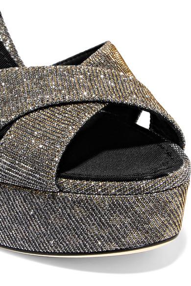 Dolce & Gabbana Sandales À Plateforme Lamé Avec Embellissements
