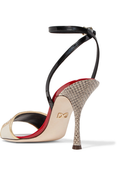 Embroidered Velvet, Leather And Watersnake Sandals - Gold Dolce & Gabbana