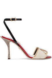Embroidered velvet, leather and watersnake sandals