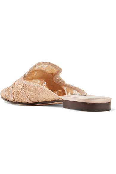 Buy Cheap Cost Dolce & Gabbana Crystal-embellished Corded Lace Slippers - Peach Outlet Exclusive 2018 New Visit Sale Online 2018 EaKTvacdc