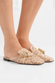 Crystal-embellished corded lace slippers