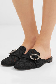 Dolce & Gabbana Crystal-embellished corded lace slippers