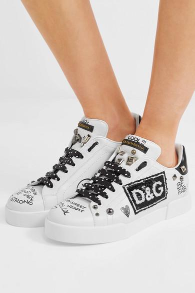 Dolce & Gabbana Sneakers aus bedrucktem Leder mit Logo