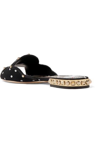 Dolce & Gabbana Pantoletten aus Cady mit Polka-Dots und Lederdetails Einkaufen Preis Spielraum Viele Arten Von Offizielle Seite 2018 Neuer Günstiger Preis jmeTFZJR