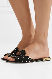 Leather-trimmed embellished polka-dot cady slides
