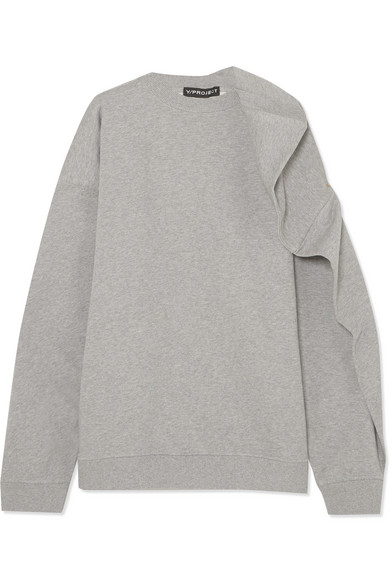 Y/PROJECT - Oversized Cotton-terry Sweatshirt - Light gray