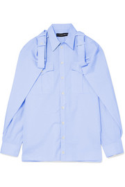 Cape-effect cotton and linen-blend shirt