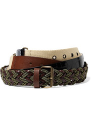 Leather, croc-effect and canvas belt