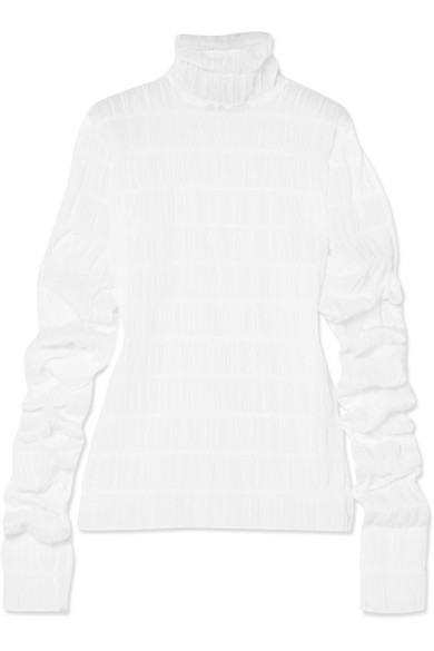 Y/PROJECT - Ruched Cotton-blend Turtleneck Top - White