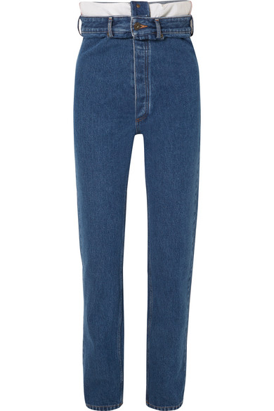 Y/PROJECT - High-rise Straight-leg Jeans - Mid denim