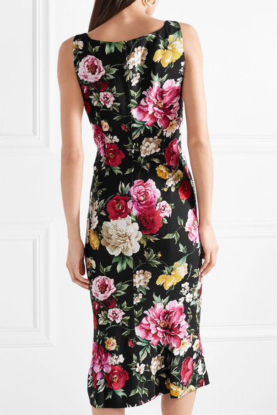 Dolce & Gabbana Midikleid aus Crêpe mit floralem Print