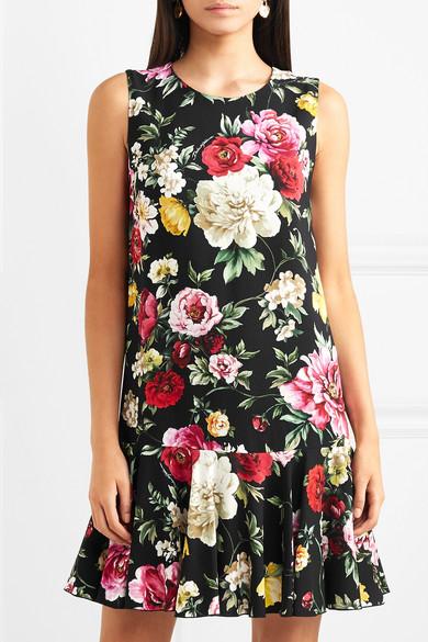 Dolce & Gabbana Minikleid aus floral bedrucktem Cady mit Rüschen