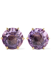 Rock Candy 18-karat gold amethyst earrings