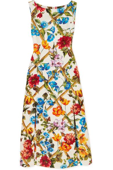 Dolce   Gabbana Printed Cotton And Silk-Blend Brocade Midi Dress In Orange acdbf154c87