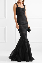 Ruched silk-tulle gown