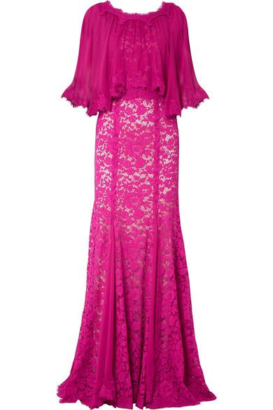 Dolce & Gabbana Robe aus Chiffon und schnurgebundener Spitze mit Cape-Effekt