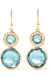 Lollipop 18-karat gold, topaz and diamond earrings