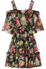 Dolce & Gabbana Cold-shoulder floral-print silk-chiffon mini dress