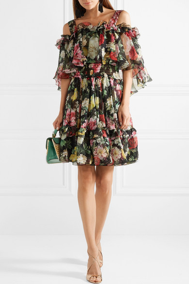 Cold Shoulder Floral Print Silk Chiffon Mini Dress by Dolce & Gabbana