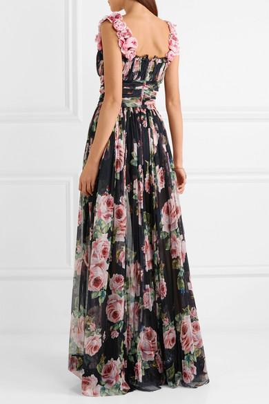 Dolce & Gabbana Robe aus Seidentüll mit floralem Print und Applikationen